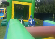 power ranger in obstacle course inflatable