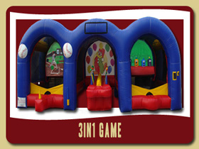 Baseball, hot potato and Shooting gallery inflatable game Port Orange party rentals Florida Orange City