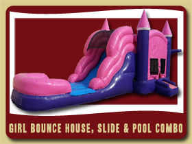 Pink and Purple Bouncer Slide and Pool Combo Inflatable Sanford bouncing castle rental Palm Coast
