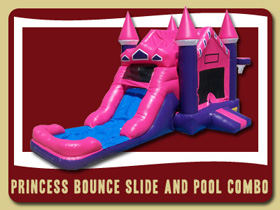 Pink and Purple Bouncer Slide and Pool Combo Inflatable  Palm Coast Oak Hill party rentals Florida De Leon Springs