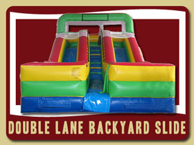 Dule or double lane backyard slide Butler Beach bounce house party rentals De Leon Springs
