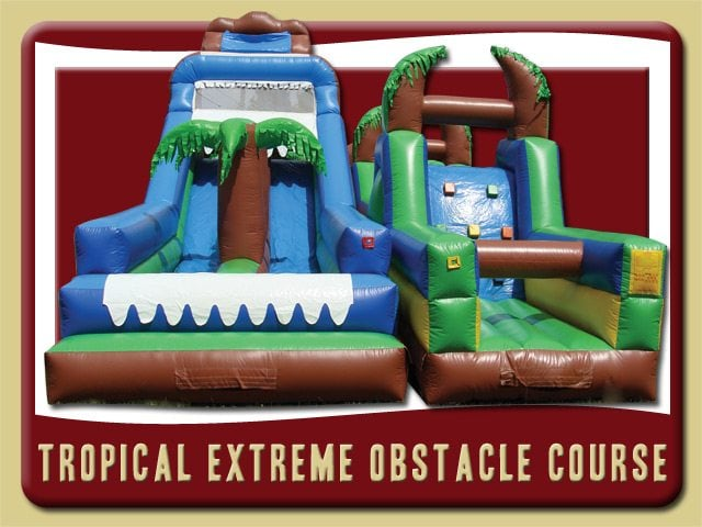 Tropical Extreme Dual Water Slide Inflatable Obstacle Course Deland