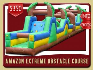 amazon obstacle course tropical inflatable rental deland price blue yellow green brown palm trees