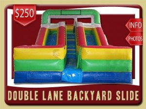 backyard slide water double lane inflatablerental port orange price red yellow blue green
