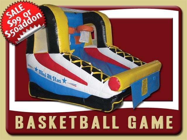 basketball inflatable moonwalk bounce house rental deltona sale blue red yellow black white two hoops