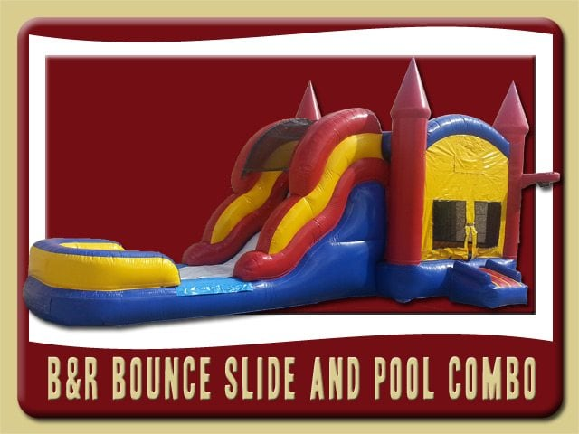 Bounce House Moonwalk Water Slide Combo Rental Palm Coast blue red