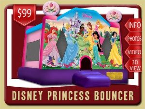 disney bounce house moonwalk belle tiana snow white cinderella sleeping beauty princess rental new smyrna beach price purple pink blue