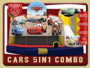 disney cars 5in1 water slide bounce house combo rental flagler beach price lightning mcqueen mater sally yellow red blue