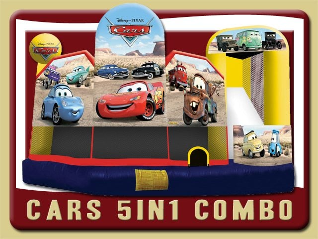 Disney Cars 5in1 Water Slide Bounce House Combo Rental Flagler Beach red yellow blue