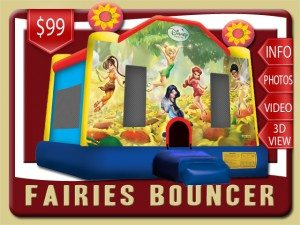 disney fairies bounce house inflatable rental deltona price tinker bell silvermist vidia iridessa blue yellow red