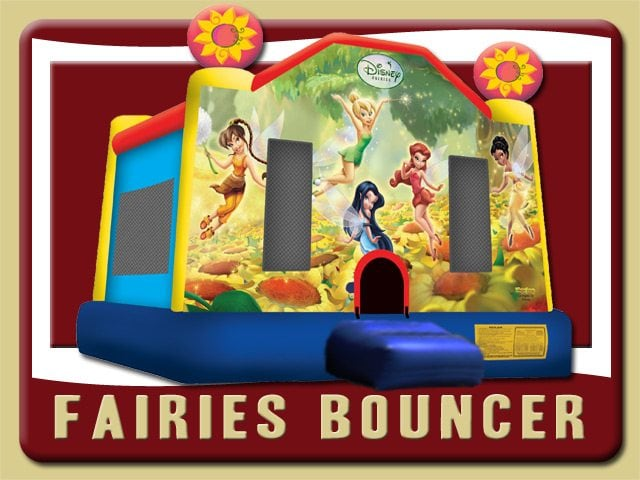 Fairies Tinkabell Disney Bounce House Inflatable Rental Deltona Tinkerbell yellow blue