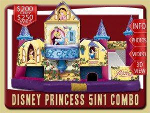 disney princess water slide combo belle snow white cinderella sleeping beauty rental edgewater price yellow pink purple blue