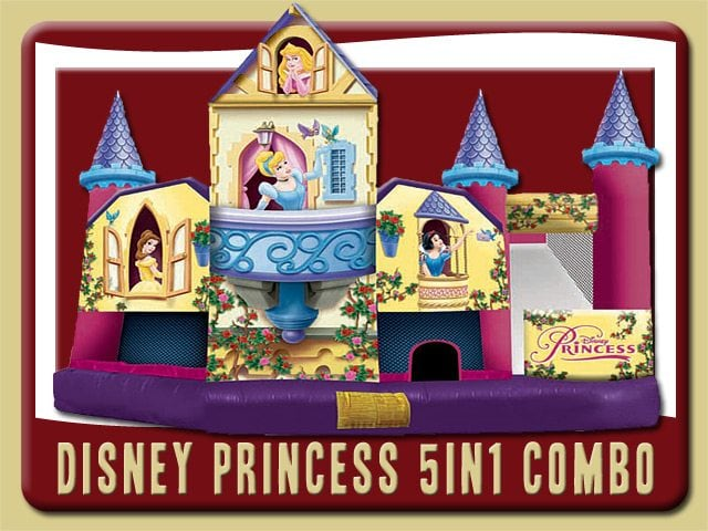 Disney Princess Water Slide Combo Belle Snow White Cinderella Sleeping Beauty Rental Edgewater pink purple
