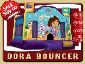 dora bounce house moonwalk party rental palm coast sale boots swiper flowers yellow purple