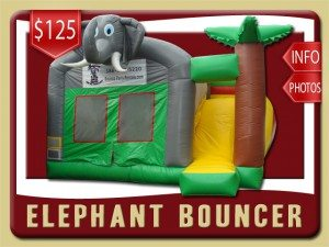 elephant inflatable bounce house slide combo rental debary price palm tree gray yellow green