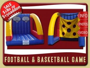 football basketball inflatable bounce house game rental orange city sale blue red yellow