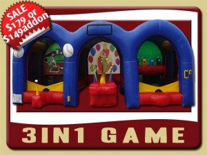 game 3in1 baseball shooting bounce house inflatable rental palatka sale baseball hot potato shooting gallery blue red yellow