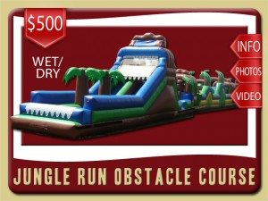 jungle run water slide obstacle course inflatable rental flagler beach price blue green brown palm trees