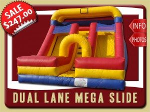 mega slide inflatable dual lane rental palm coast sale blue red yellow