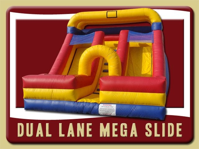 Dual Mega Slide Inflatable Party Rental Palm Coast Florida blue yellow and red