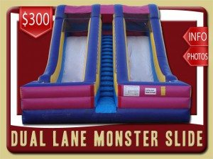 monster slide inflatable rental pierson price purple pink yellow