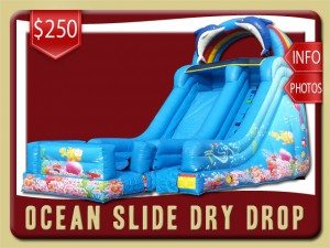 ocean inflatable slide dry drop party rental pierson price fish blue