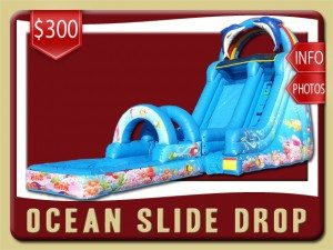 ocean slip wet pool drop water slide party rental palm coast price coral reef fish blue
