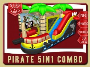 pirate 5in1 Combo bounce house rental holly hill price palm trees bow red yellow black