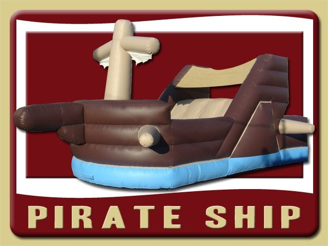 Pirate Ship Inflatable Slide Rental Daytona Beach brown blue tan