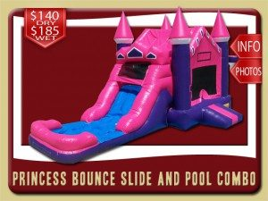 princess bounce house water slide combo 3in1 rental hastings price pink purple