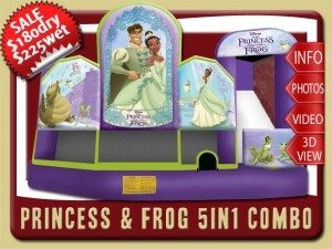 princess frog 5in1 bounce house water slide combo rental daytona beach sale prince naveen frogs louis ray purple green