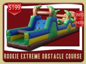 rookie obstacle course inflatableparty rental edgewater price rock climbing blue green yellow brown