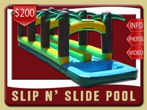 slip n side pool water inflatable rental flagler beach price palm tree double lane green yellow brown