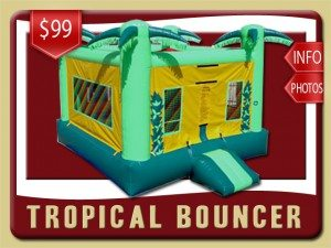 tropical bounce house inflatable rental lake helen price palm trees green yellow