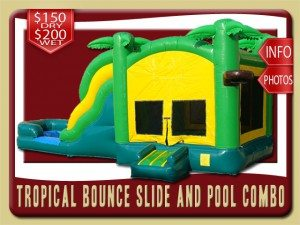 tropical combo bounce house water slide rental edgewater price palm trees green yellow