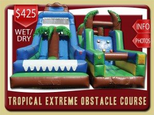 tropical extreme dual water slide inflatable obstacle course deland price blue brown yellow green palm trees