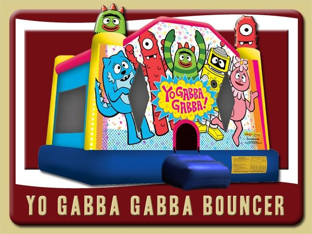 Yo Gabba Gabba Bounce House Rental Hastings Foofa Plex Toodee Muno Brobee Blue Red Yellow