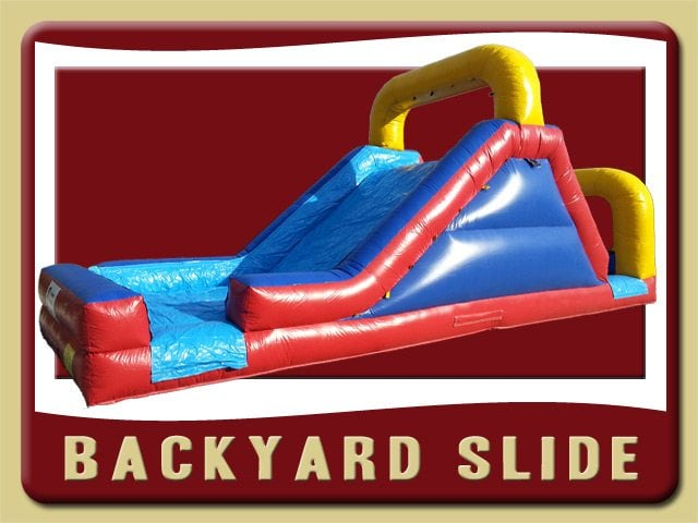 Backyard Slide Inflatable Rental Port Orange Red Blue Yellow