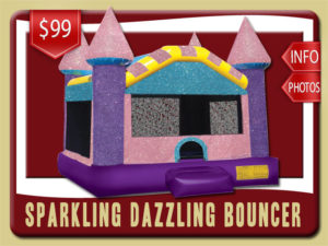 parkling Dazzling Castle Bounce House Rental, Pink, Purple, Blue, Yellow