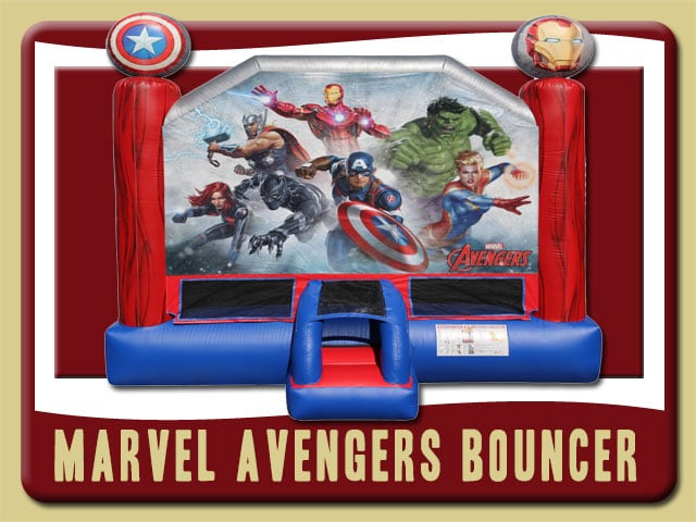 Marvel Avengers Bouncy Castle Iron Man, Thor, Hulk, Captain America, Captain Marvel, Black Panther, Black Widow