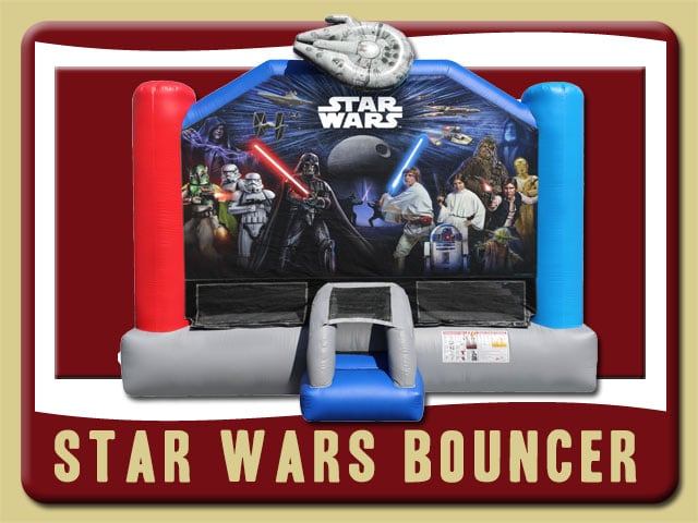 Star Wars Bouncy House Rental Luke Skywalker, Princess Leia, Chewbacca, Yoda, Darth Vader, Han Solo, Boba Fett, C3po, R2d2, Jedi, Lightsabers